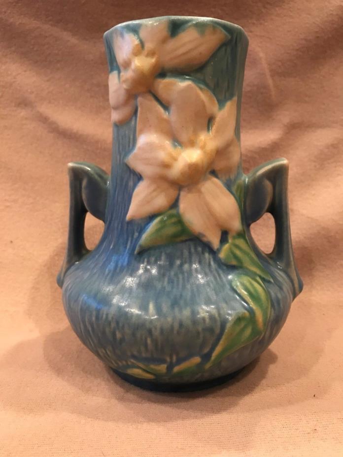 VINTAGE ROSEVILLE POTTERY CLEMATIS BLUE BUD VASE #188-7