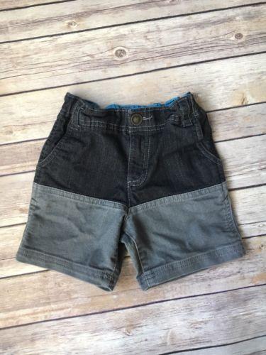 OshKosh Boys Two Toned Jean Shorts - Black and Gray (3T) Adjustable Waist