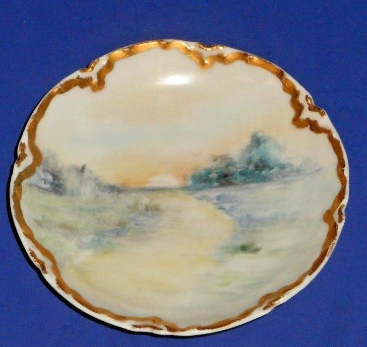 Antique Limoges France Decorated Butter Pat - Sunset on Country Path  (2 of 2)