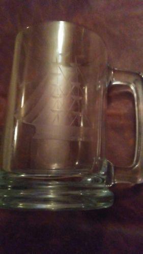etched glass beer mug..spinner ship