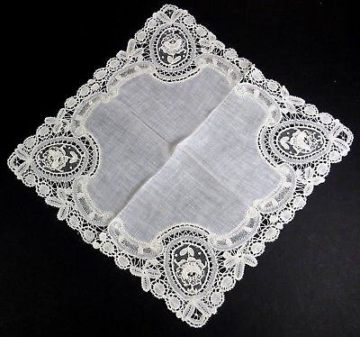Antique Bobbin lace handkerchief with French needle lace inserts in the design!