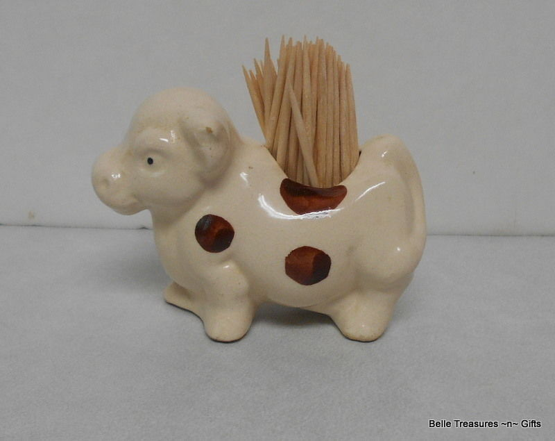Vintage Brown & White Cow Tooth Pick Holder