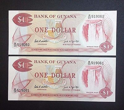 Bank of Guyana $1 Banknotes. In Series. UNC. 2 Notes