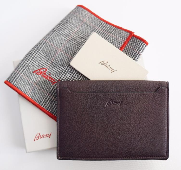 New Authentic BRIONI Mahogany Leather PASSPORT ID & CREDIT CARD Case Holder