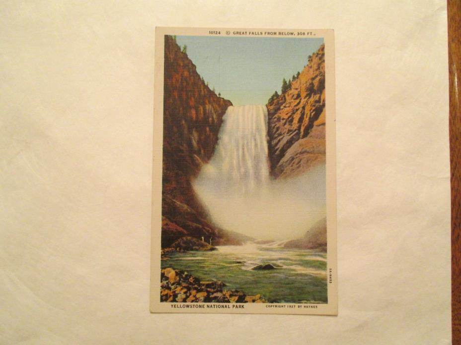 Great Falls from Below Yellowstone National Park Postcard