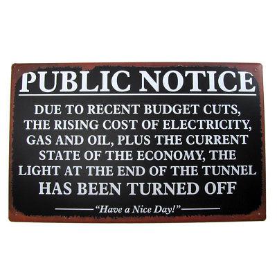 Vintage Antique Public Notice Gas Oil Energy Tin Sign Funny Bar Shop Wall Decor