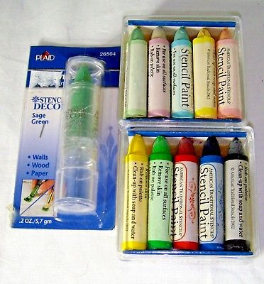 Bulk Lot 11 Stencil Paint Sticks Plaid American Traditional Stencil Craft New