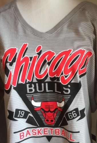 NWOT Women's NBA Chicago Bulls Basketball Logo Large L Gray Bling V Neck Shirt