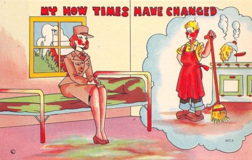 WACS WWII Military Comic~Womens Army Corp~Things Change~Hubby Home Mopping~1943
