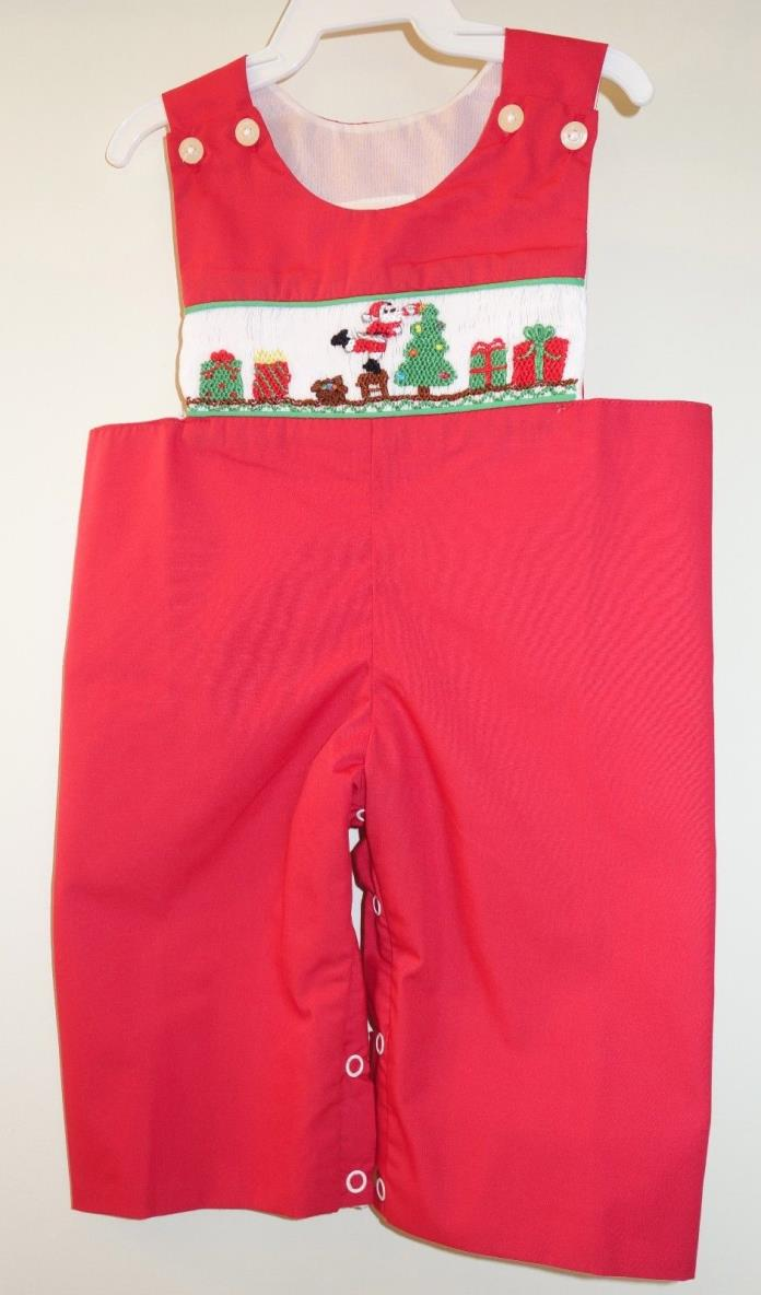 New ~  Babeeni Red Smocked Christmas Romper / Longall Boy's Sz 6 Month