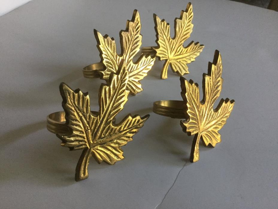 Beautiful Quality Vintage Set of 4 SOLID Brass Maple Leaf Napkin Ring Holders