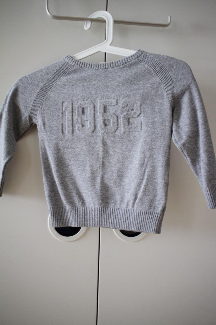 H&M Boys Crew Neck 1952 Pullover Sweater Top Shirt Tee 2T-4T XS Gray