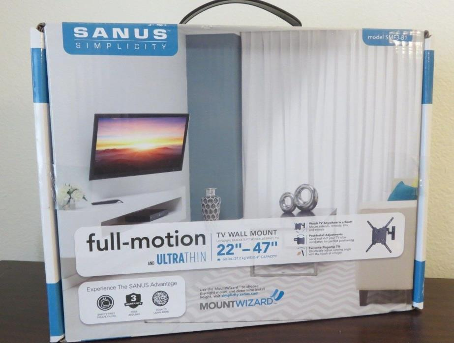 SANUS TV WALL MOUNT SMF3-B1 FULL-MOTION ULTRA THIN 22