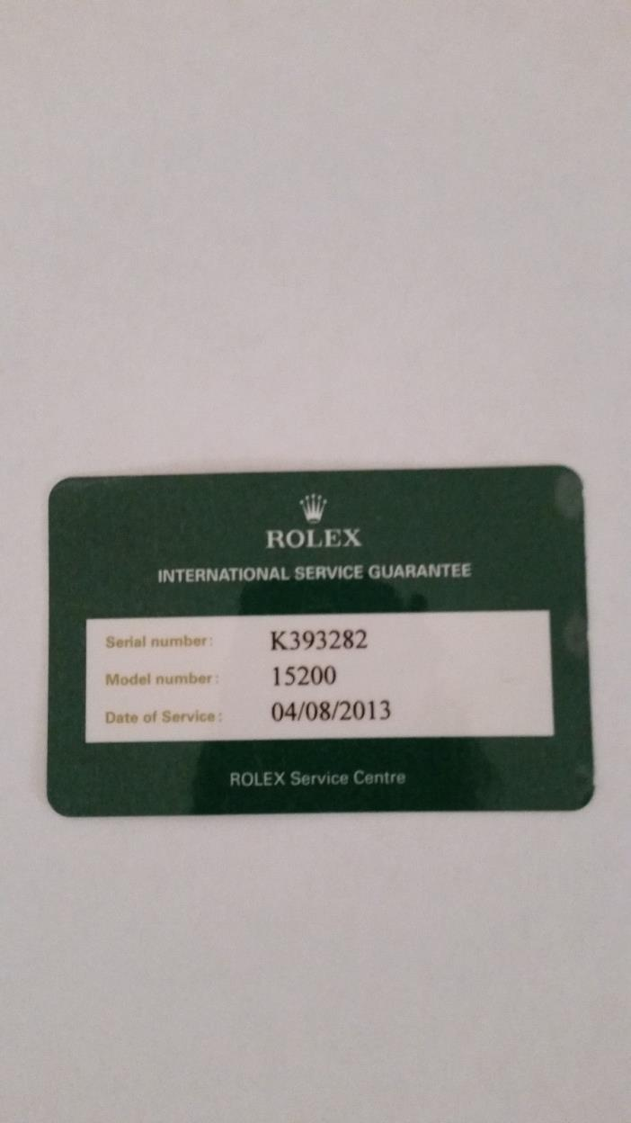 Rolex International Service Guarantee Card Oyster 15200