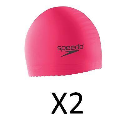 Speedo Jr. Solid Latex Swim Cap Hot Pink, Unisex UV Protection Flexible (2-Pack)