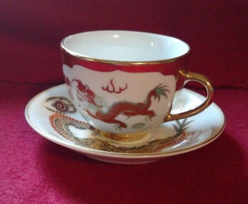 vintage japanese teacup and saucer gold trim, dragon design,