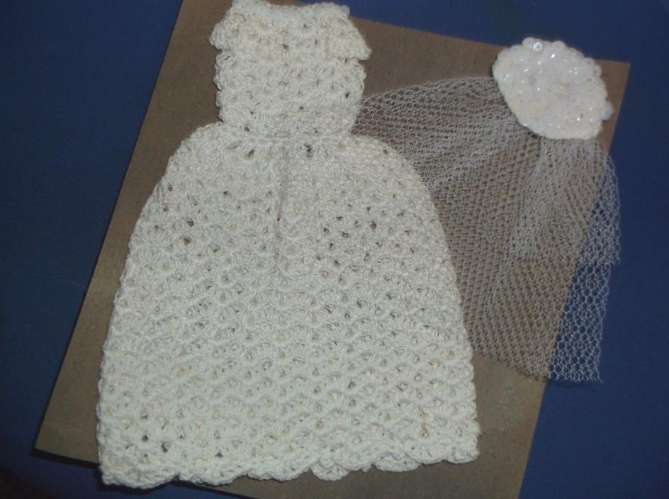 Doll Clothes Wedding White Crochet Lace Dress w/ Hat,fits 12