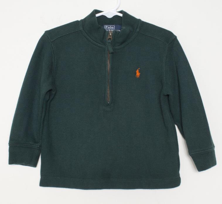 Polo Ralph Lauren Toddler 2t Sweater Half-Zip Green With Orange Polo Horse Logo
