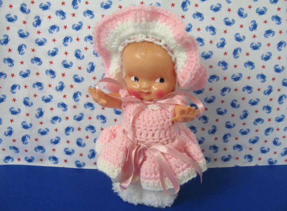 Kewpie Doll in Crochet Outfit Vintage Irwin U.S.A. Celluloid Hard Plastic 6.5