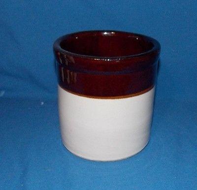 6'' Vintage Roseville Pottery Ohio  Beige & Brown Pot Crock Holder Bowl R.R.P.