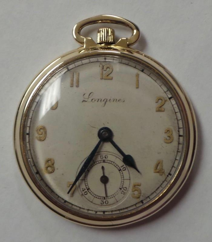 Longines Swiss Pocket Watch 17 Jewels Size 12 10K Golf Filled Case 44.6mm