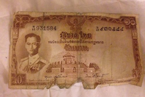 THAILAND MONEY 10 PAPER BILL THOMAS DE LA RUE 931584