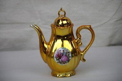 Gold Teapot Chocolate Pot Romantic Couples Scene Porcelain Japan
