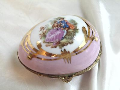 Antique Limoges France Marque Deposee Romance Pink Gold Egg Shape Trinket Box