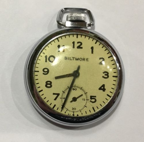 VINTAGE BILTMORE PW PS DOLLAR POCKET WATCH