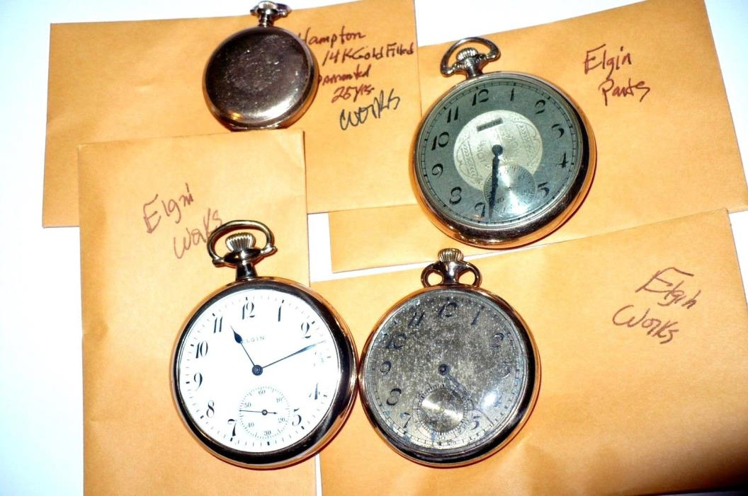 4 Vintage G F Pocket Watches 3 Elgin Mens 2 Working 1 Small Womans Hampton 1912