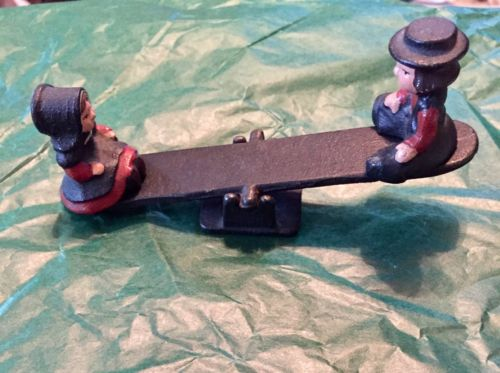 Vintage Teeter Totter Amish Wilton Metal Toy W/ Boy And Girl Figurines