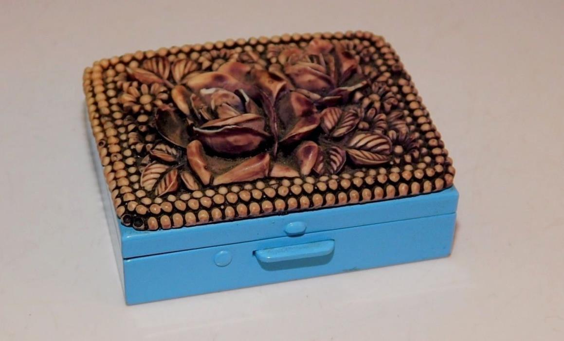 Blue Enamel Metal Hinged Cover Rose Flower design Trinket Pill Box
