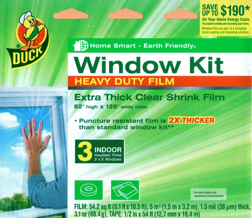 Duck Heavy-Duty Extra Thick Clear Shrink Film Window Kit - For 3 3' x 5' Windows