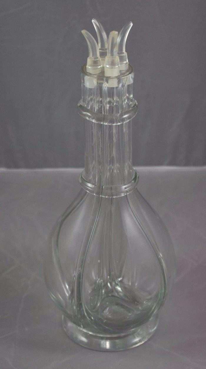 Vintage France Antique Divided Liquor Bottle Bartender Dispenser Glass French