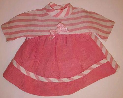 Vintage 1950s Doll Dress Pink White Stripes