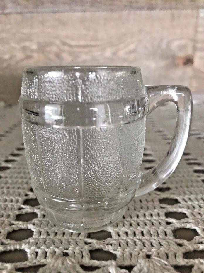 Barrel Shape Handled Toothpick Holder Vintage Pressed Glass