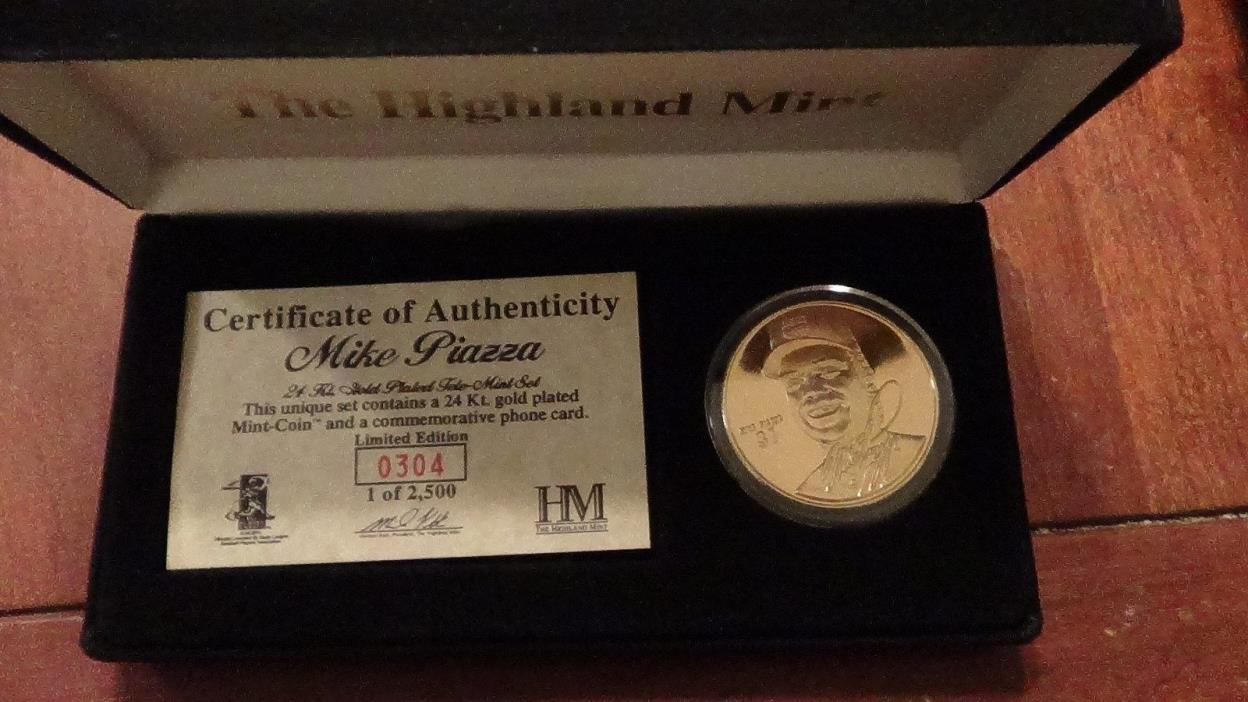 MIKE PIAZZA HIGHLAND MINT 24KT GOLD PLATED TELE-MINT SET