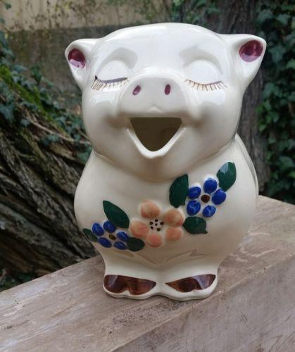 Shawnee Smiley Pig Pitcher Flowers Pink Blue 8