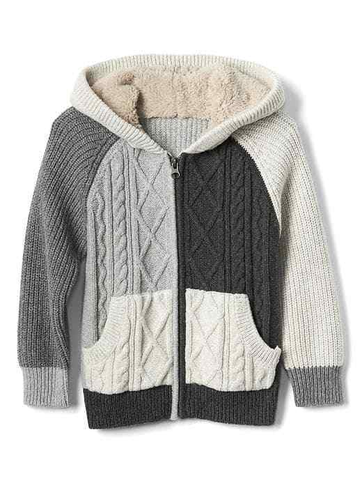 NEW GAP Boy Cozy Cable Knit Zip Hoodie Sweater Gray Black18-24 Month Value $49