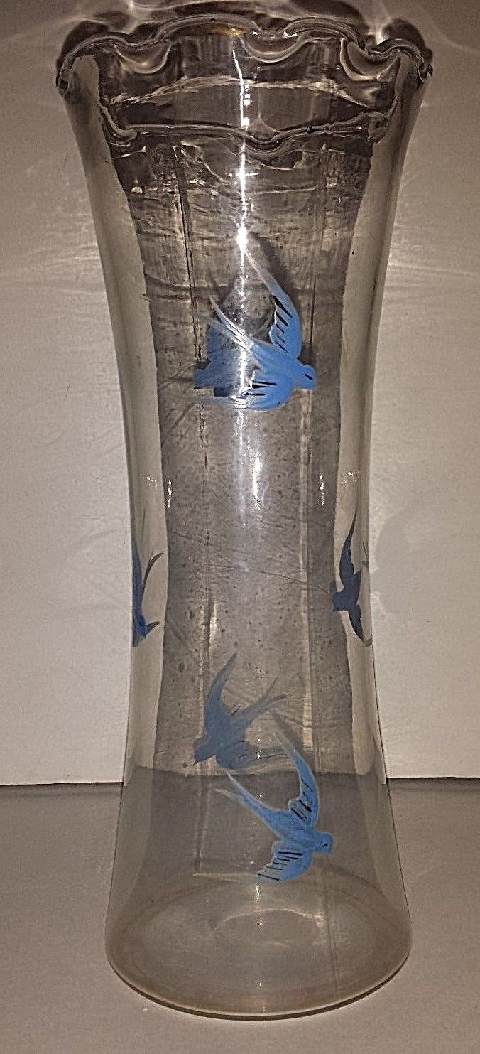VINTAGE HAND BLOWN, HAND PAINTED TALL VASE WITH BLUE BIRDS  9 1/2