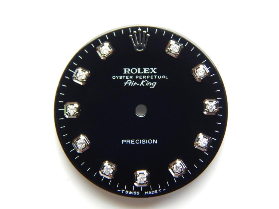 Rolex Air King SS Black with 11 Round Diamonds Dial