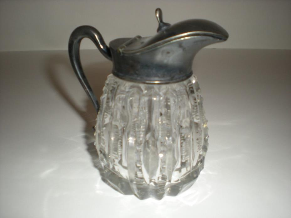 VICTORIAN  CUT CRYSTAL CREAMER WITH METAL TOP