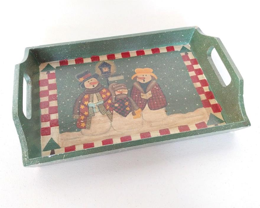 Country Holiday Snowman Display Tray Home Decor Faux Vintage Crackle Paint