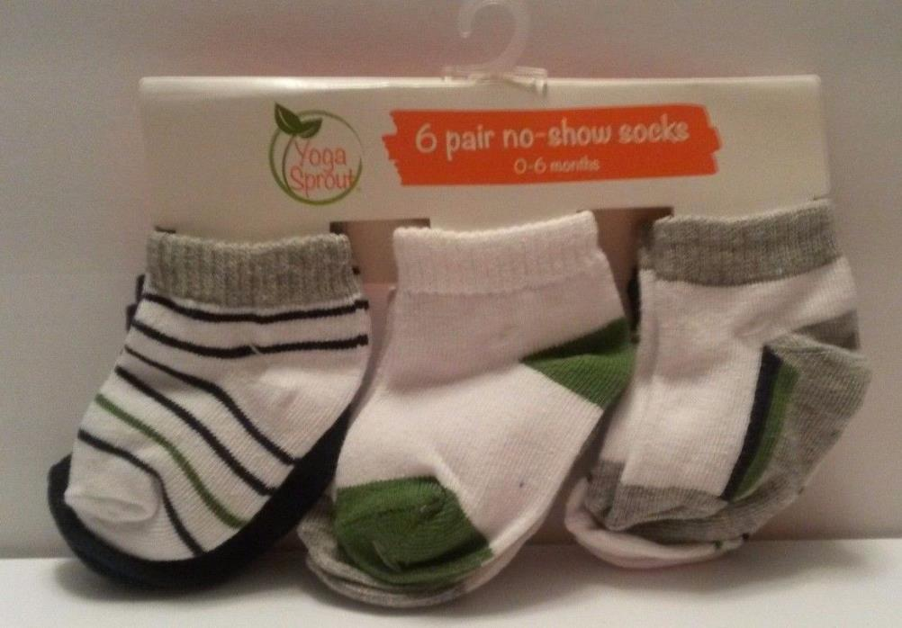 Yoga Sprout Baby No Show Socks, 6 Pack, Blue/Green/Gray, 0-6 Months NEW