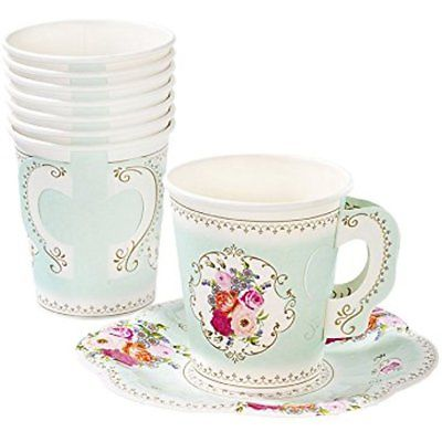 Talking Tables Truly Scrumptious Vintage Floral Disposable Tea Cups With Handles