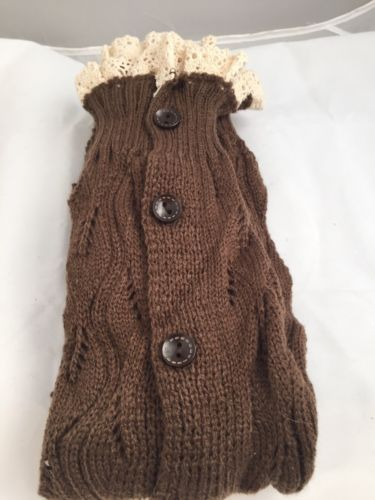 Winter Lennon CHOCOLATE BROWN Buttoned Lace Leg Warmer Socks One Size $28 NWOT