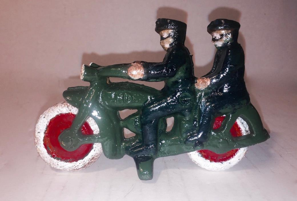 Antique Vintage HUBLEY Cast Iron Police Motorcycle Rare with two riders