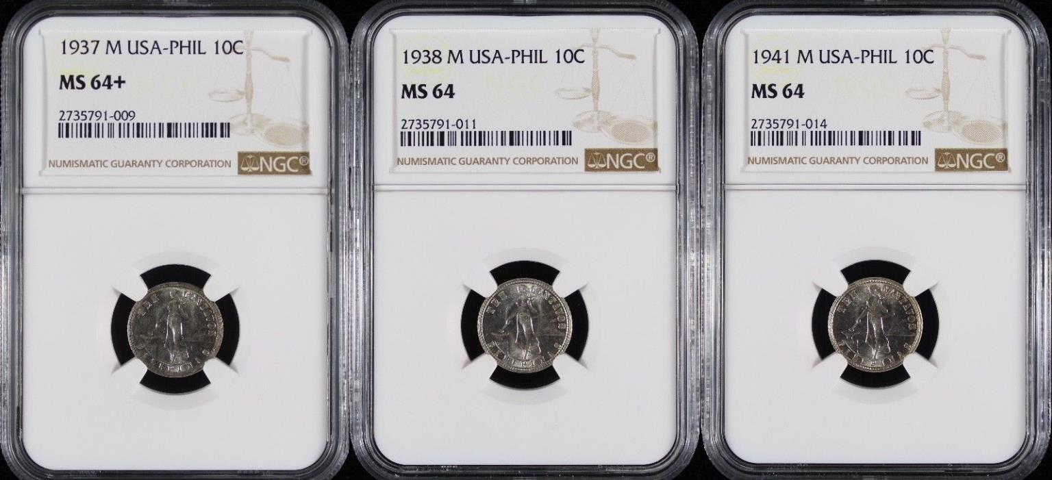 1937 1938 1941-M Philippines 10 Centavos Partial Date Set ~ NGC MS64 & 64+