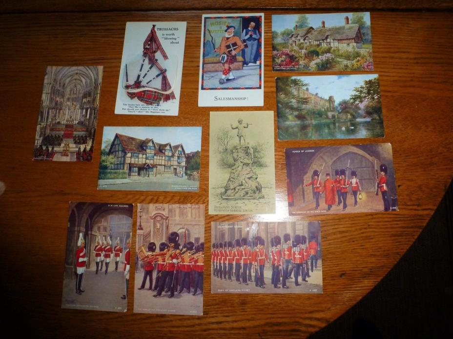 Lot 11 Vintage Postcard England BRITISH GUARD PETER PAN SHAKESPEARE UNUSED NICE