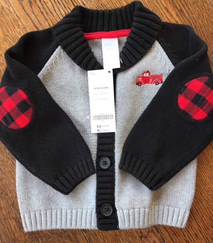 Gymboree Boys Button Up Sweater Gray/black Size 12-18 Months